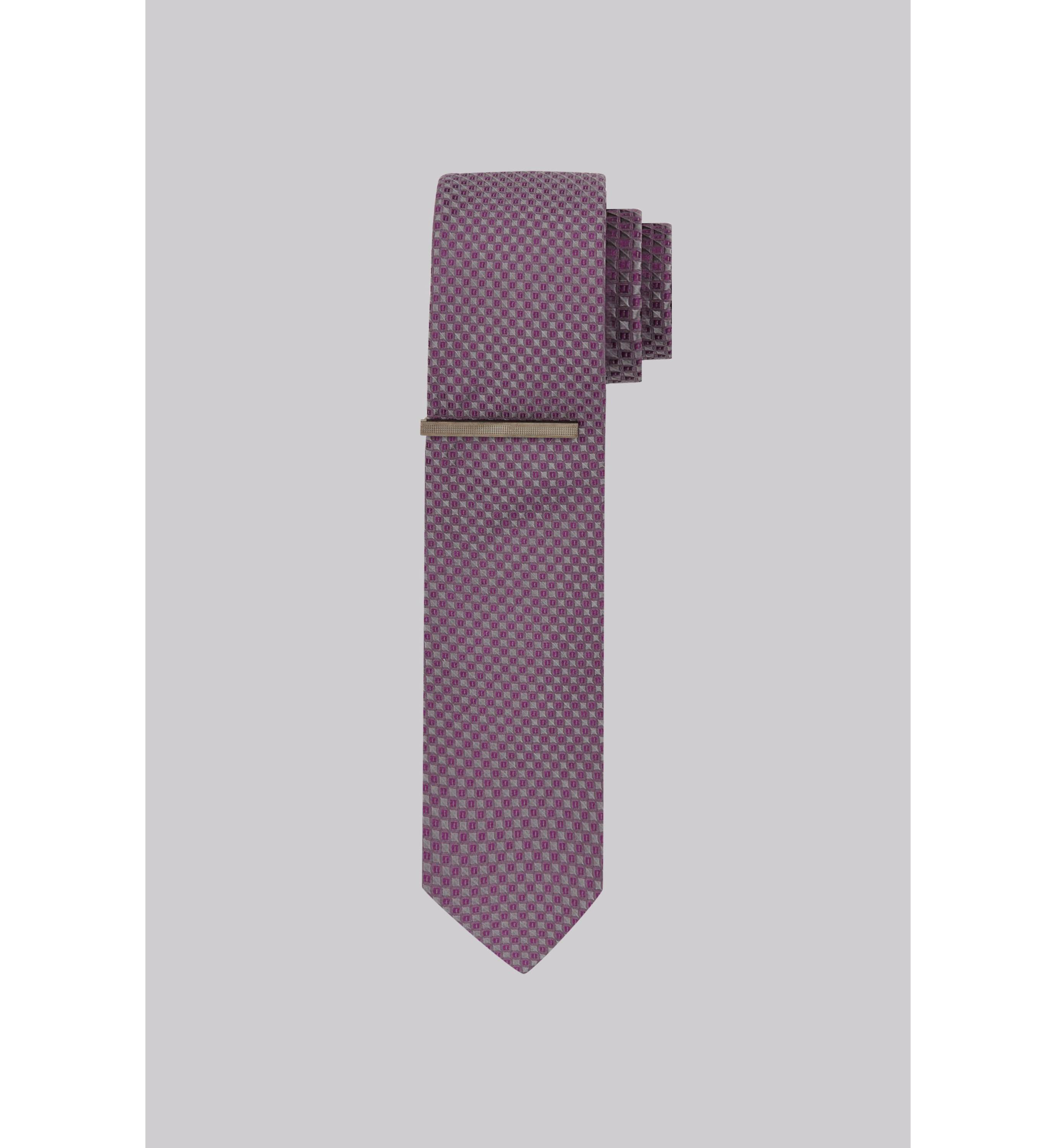 Dkny Grey And Pink Texture Silk Tie With Tie Clip Only ₦